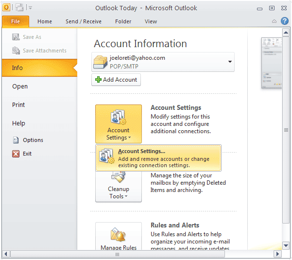 How to set up a password in Outlook 2010 to protect unauthorized access?