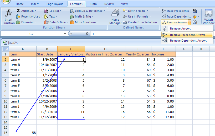 how to remove the trace arrow in excel